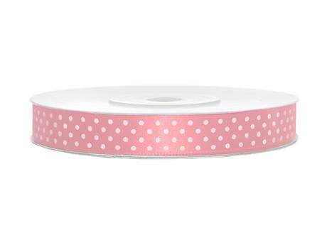 Světle růžové stuhy s puntíky- 25 m / 1,2 cm,