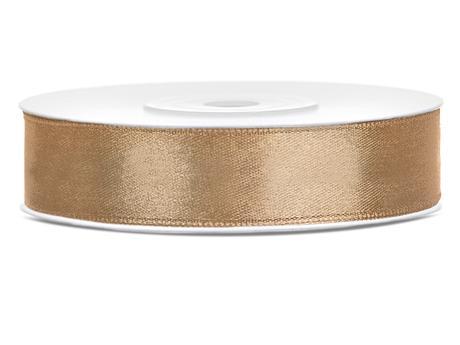 Světle zlaté saténové stuhy - 25 m / 2,5 cm,