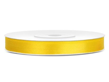 Tmavě žluté saténové stuhy - 25 m / 1,2 cm,