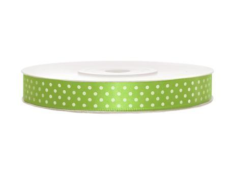 Zelené saténové stuhy s puntíky - 25 m / 1,2 cm,