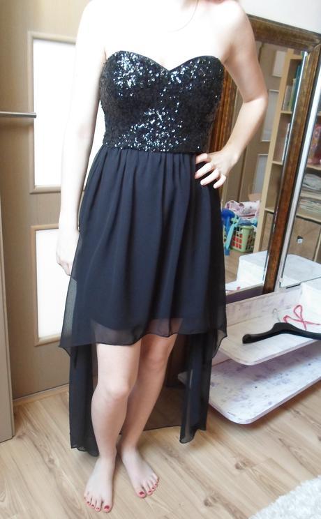 Čierne asymetrické šaty, S