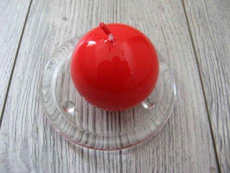 Sviečka guľa 6cm červená lakovaná,