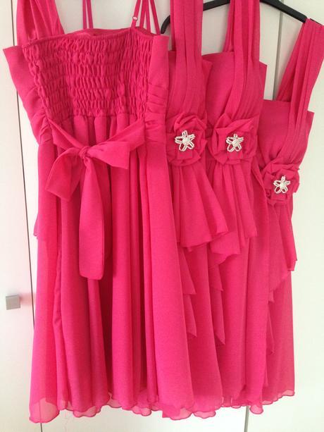 Malinové šaty pro družičky - 3ks, M