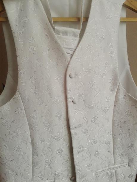 Pánska svadobná vesta + kravata- biela, 52