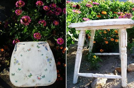 Vintage-shabby chic stolička reśtaurovaná,