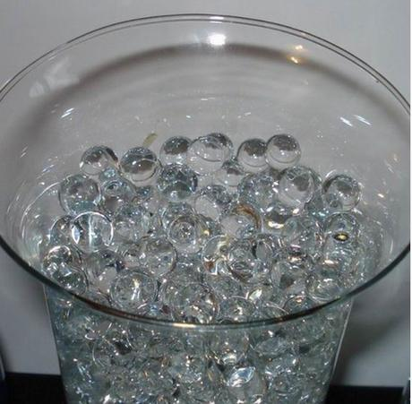 čiré gelové perly - dekorace váz,