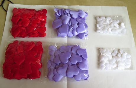 lila textilní srdíčka, srdce- dekorace ,
