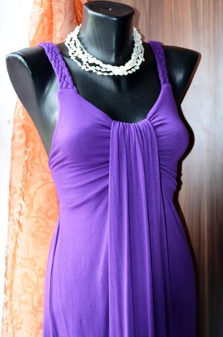 Nádherne letné fialove šaty, velkost S, Nenosene, 36