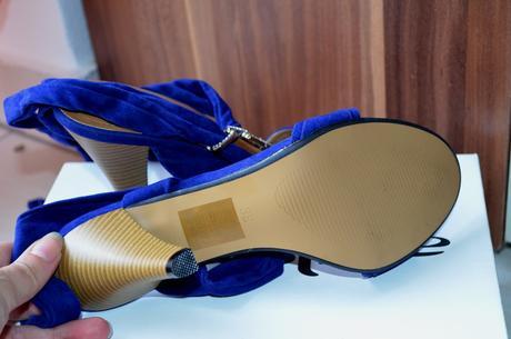 Spoločenské modré sandale , nenosene, 38