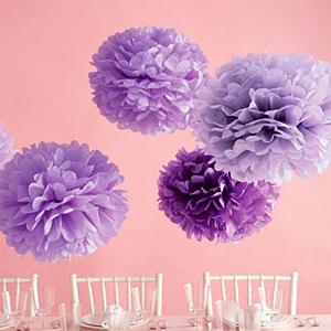 Pom poms květiny - 15,25,35cm světle a tm. fialová,