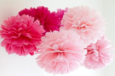 Pom poms květiny - 15,25,35cm světle a tm. růžová,