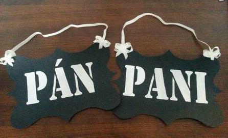 Tabulky na fotenie Pan / Pani,