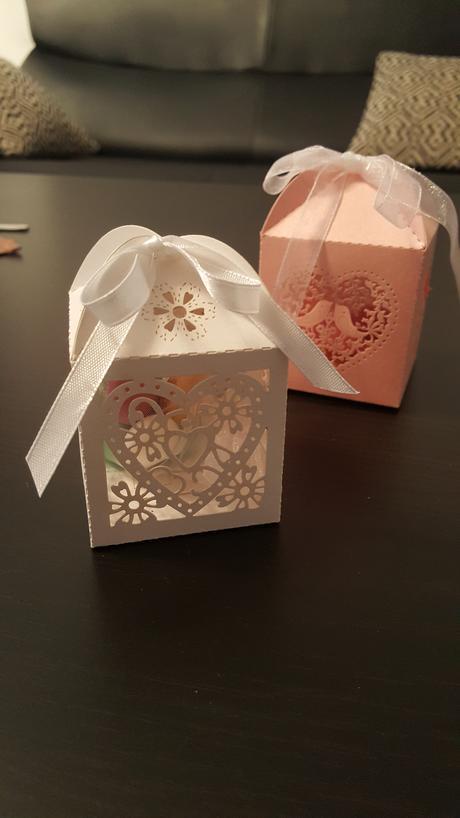 Krabička na svatební mandle (růžová a bílá),