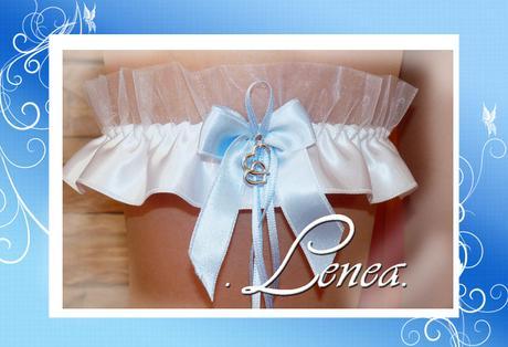 Podvazek pro nevěstu-srdce na modré mašličce, L