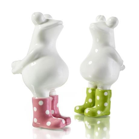 Dekoratívne keramické sošky žabky set.2ks,