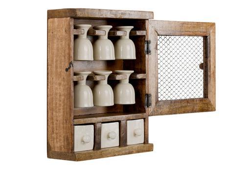 Drevený regál s pohárikmi na vajíčka a zásuvkami ,