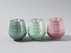 ZĽAVA - Dekoratívne sklenené svietniky 3 farby,