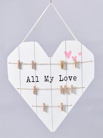 ZĽAVA Drevené srdce tabuľa so štipcami,