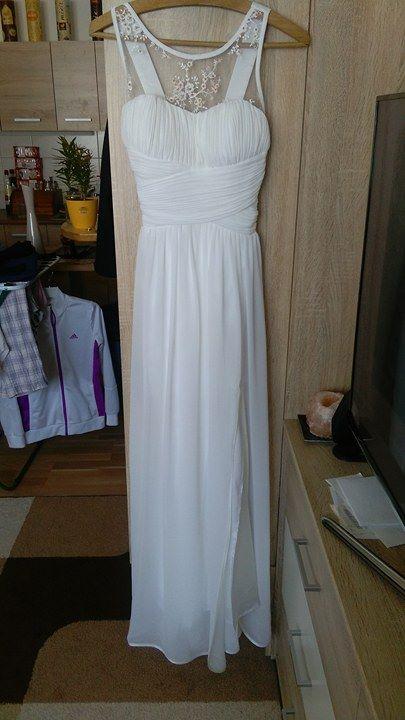 Nenošené jednoduché svatební šaty, 34