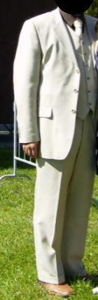 Světlý oblek, jednou nošený , 54