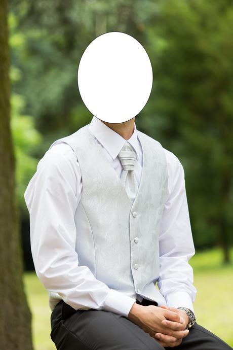 Pánska svadobná vesta -strieborno biela, 50