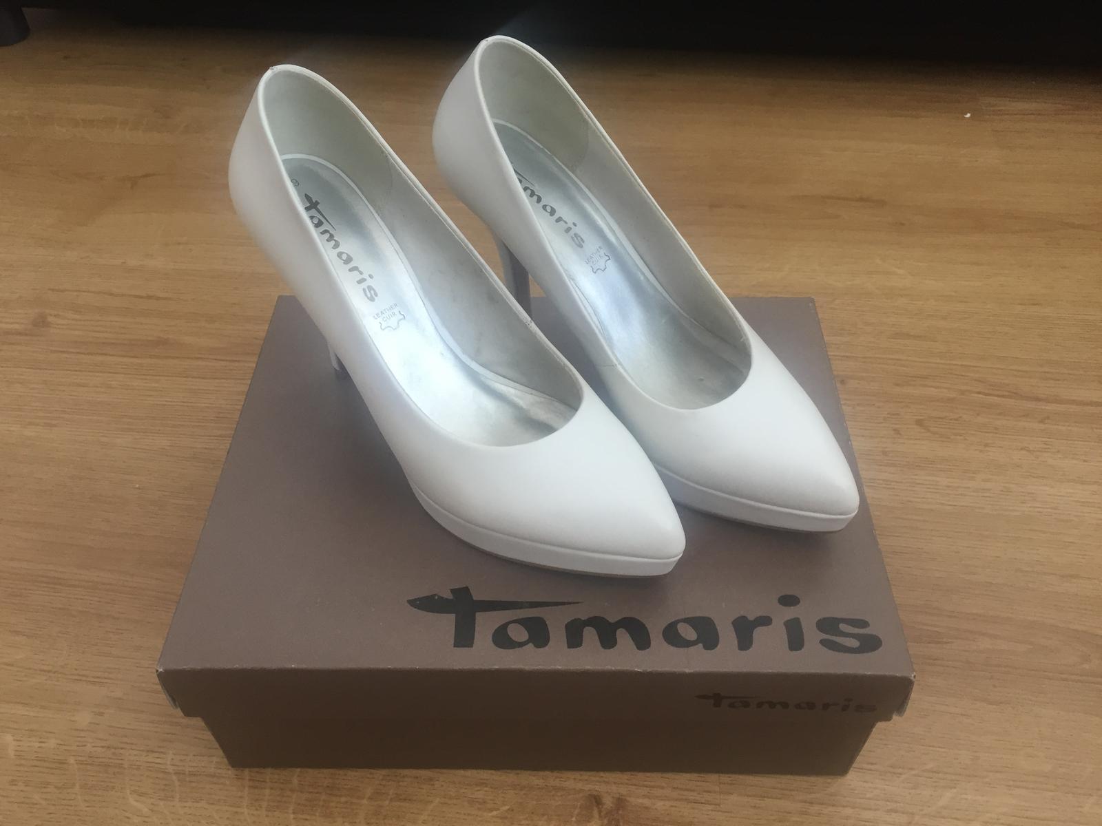Bílé kožené svatební lodičky tamaris f404ef4ce4