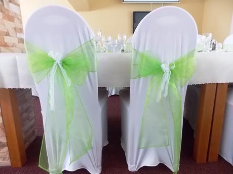 Mašľa na stoličku, jasná zelená, organza,
