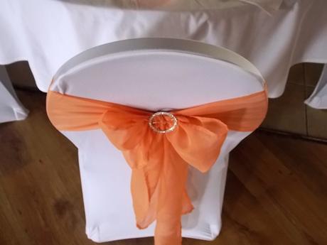 mašľa na stoličku, oranžová/lososová,