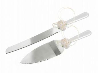 Nôž a lopatka na tortu s ivory saténovou ružičkou,