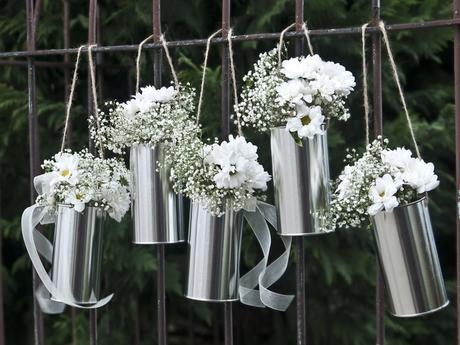 Svadobné plechovky strieborné na kvety - 5 ks,