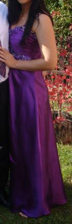 Fialové, saténové šaty (veľ. 36-38), 36
