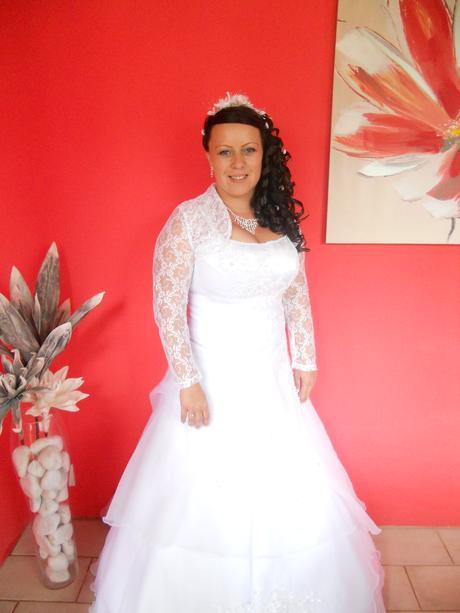 svadobne biele šaty bez bolerka, 42