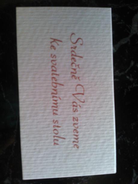 Pozvánka ke svatebnímu stolu,
