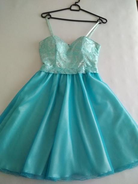 Společenské šaty tyrkysové, šité na zakázku , 34