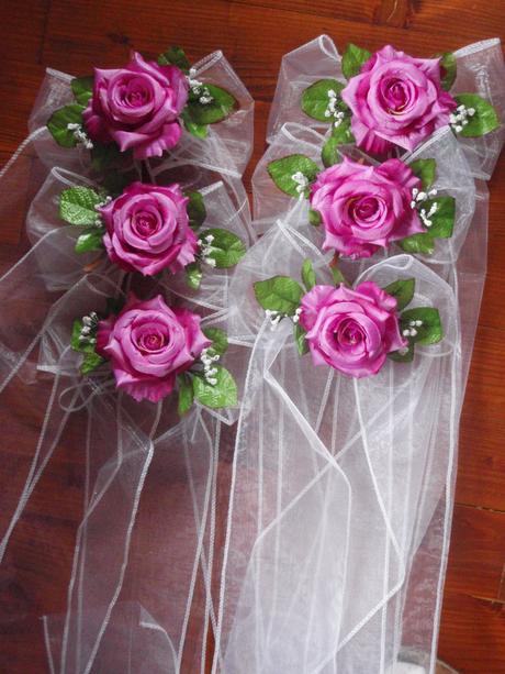 Mašle do kostola s ružou - rôzne farby,