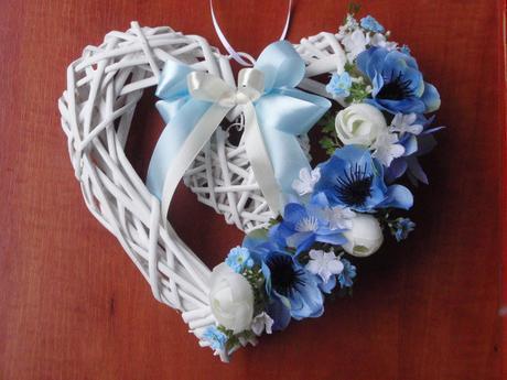 Modro - smotanové srdce - rôzne farby,