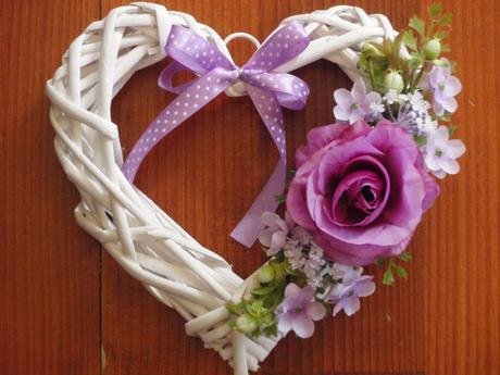 Srdce s fialovou ružou - rôzne farby,