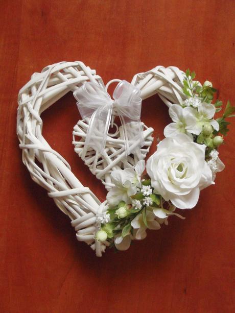Srdce s ružičkou - rôzne farby,