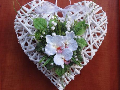 Veľké srdce s orchideami - rôzne farby,