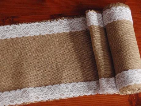Vintage jutové pásy s čipkou na stôl- rôzna šírka,