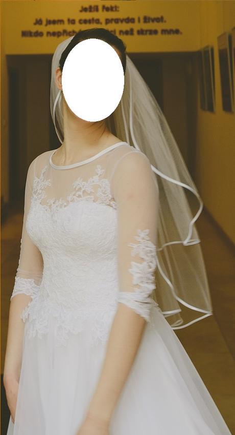 Svatební šaty s tříčtvrtečním rukávem (vel. 36-40), 38