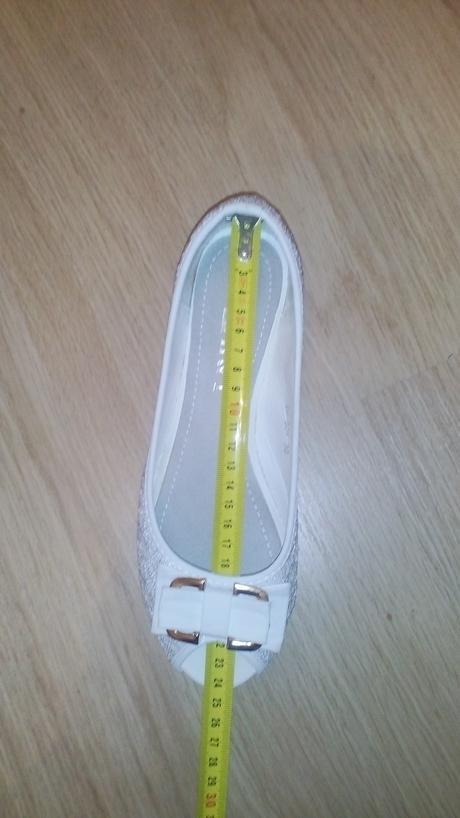 Biele čipkované balerínky , 37