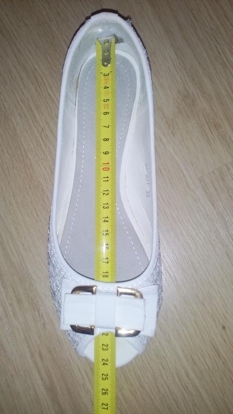Biele čipkované balerínky s poštovným, 37