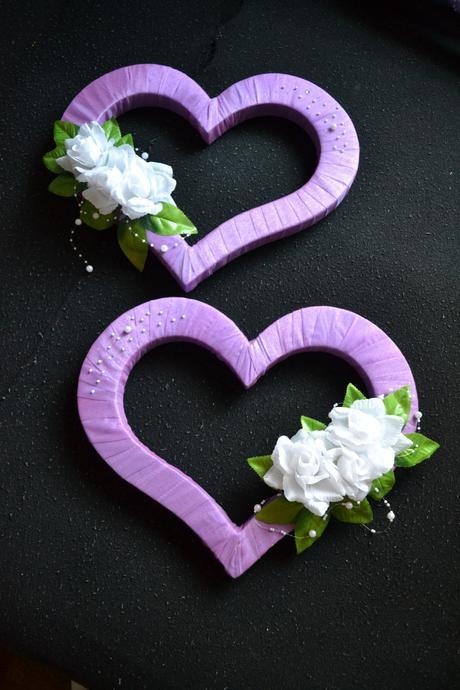 svadobne srdiecka na vyzdobu fialove,