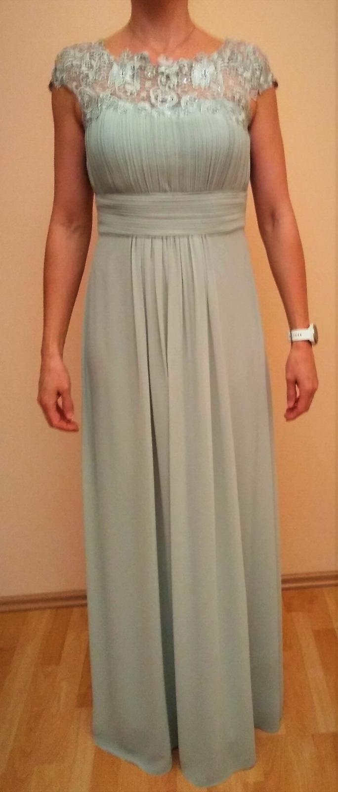 Ľahučké bledozelené šifónové šaty s krajkou - 38 6ae369fc34