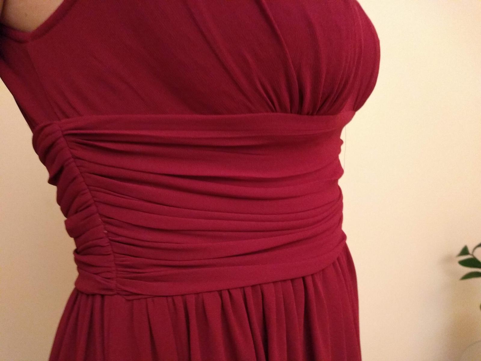 Ľahučké červenobordové šifónové šaty s krajkou - 40 7a08dac9b8