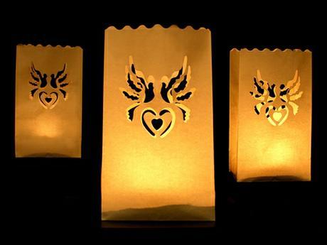 Svadobné lampióny holubice 10 ks,