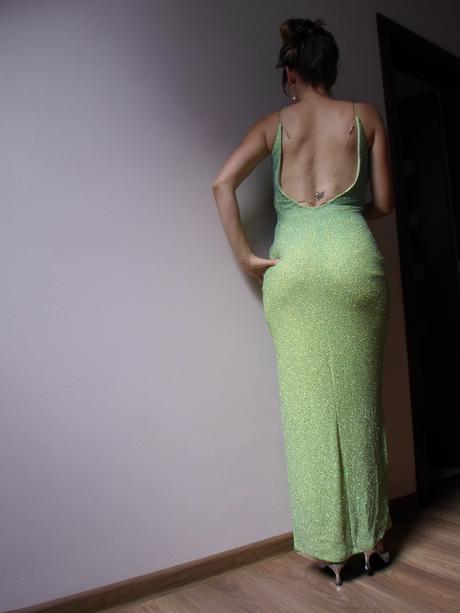 Trblietavé šaty s Aplikáciou na holom chrbte, 36