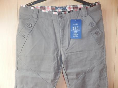 Bavlněné pánské šedé kalhoty, nenošené, s visačkou, S