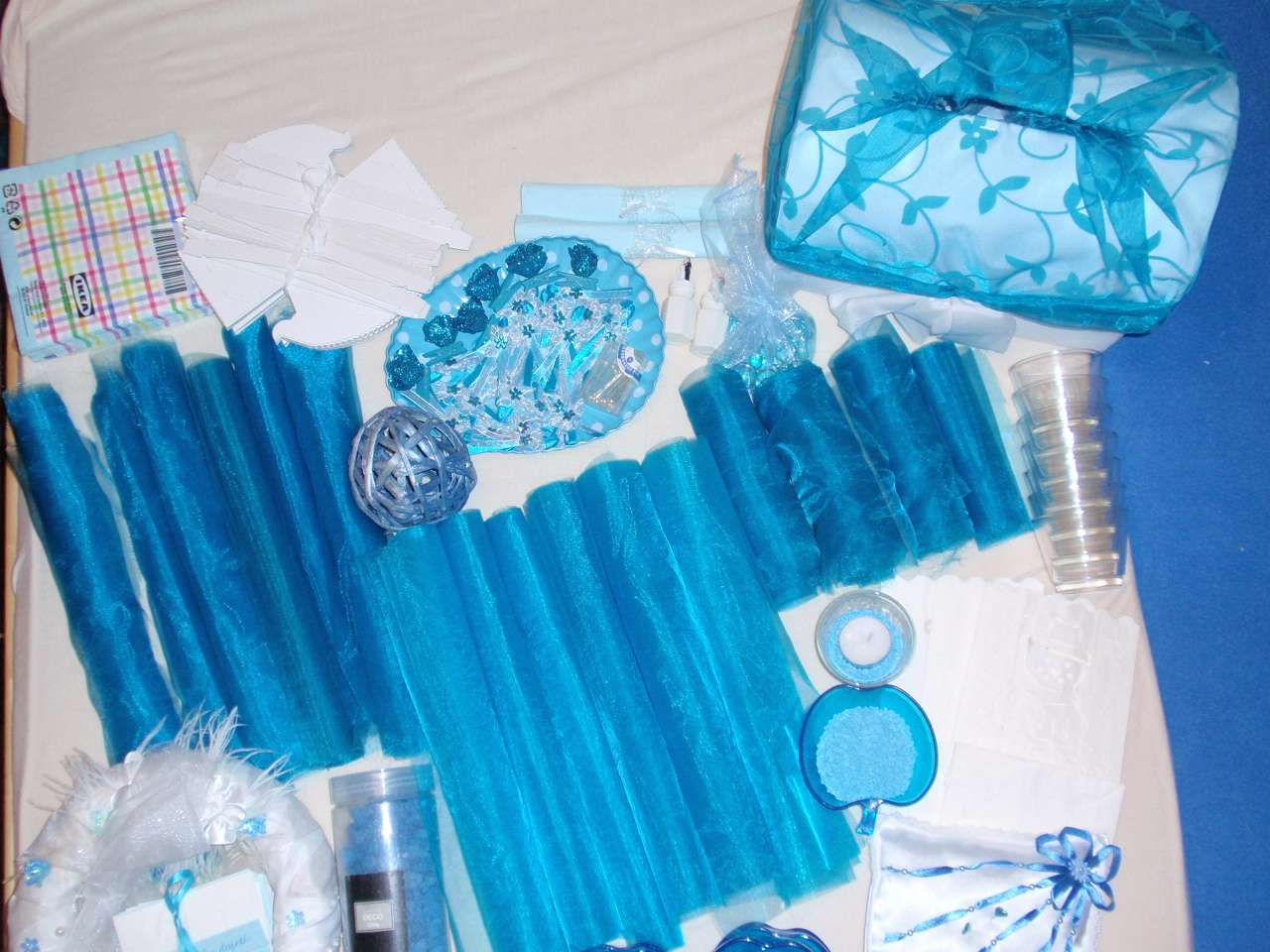 Tyrkysova Modra Dekorace Vyzdoba Organza Vyvazky 749 Kc